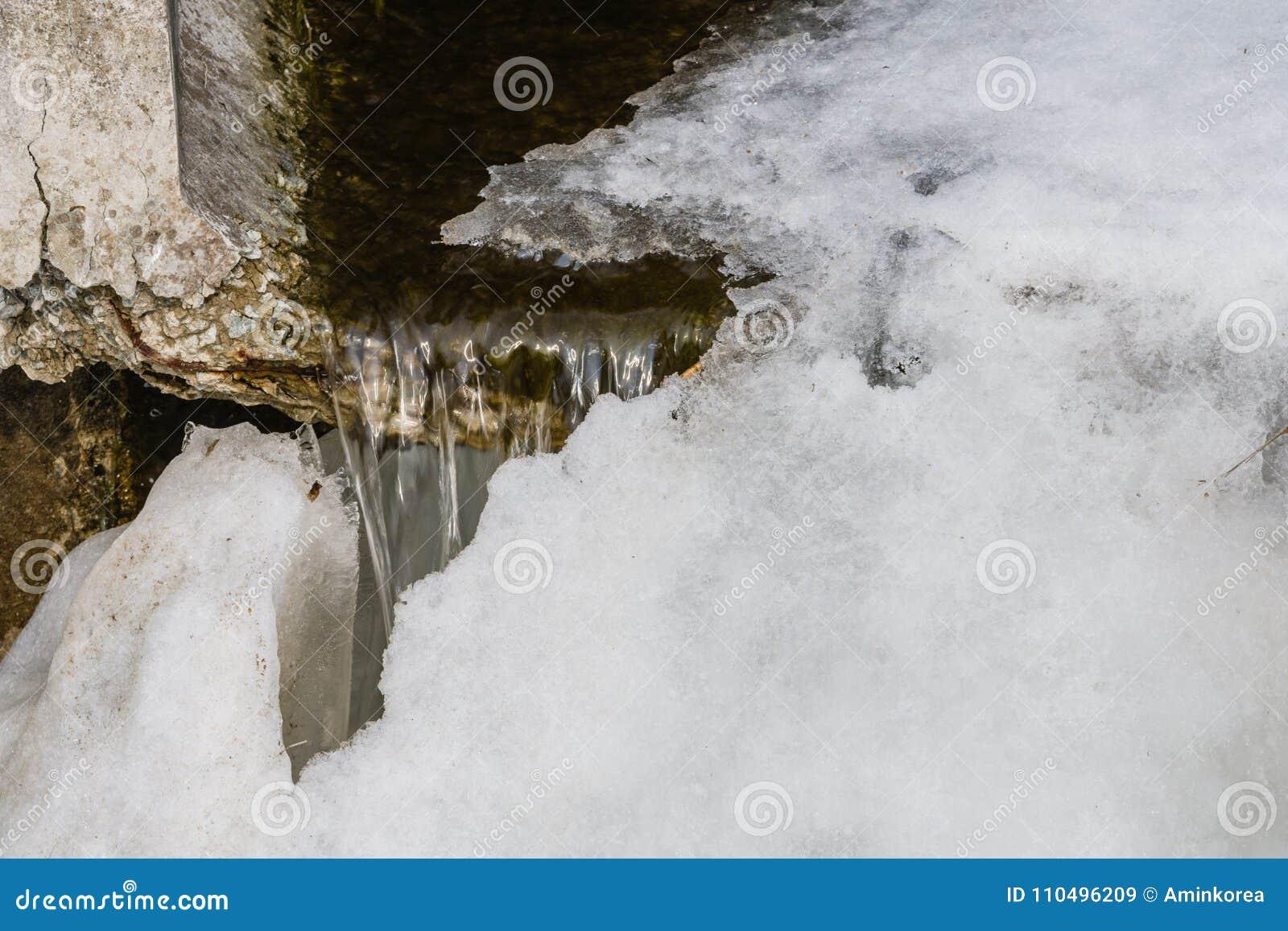 Formación de hielo en la boca de la alcantarilla
