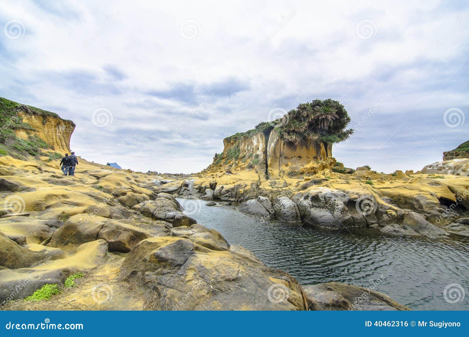 Formación de roca hermosa en la isla de la paz, keelung, Taiwán