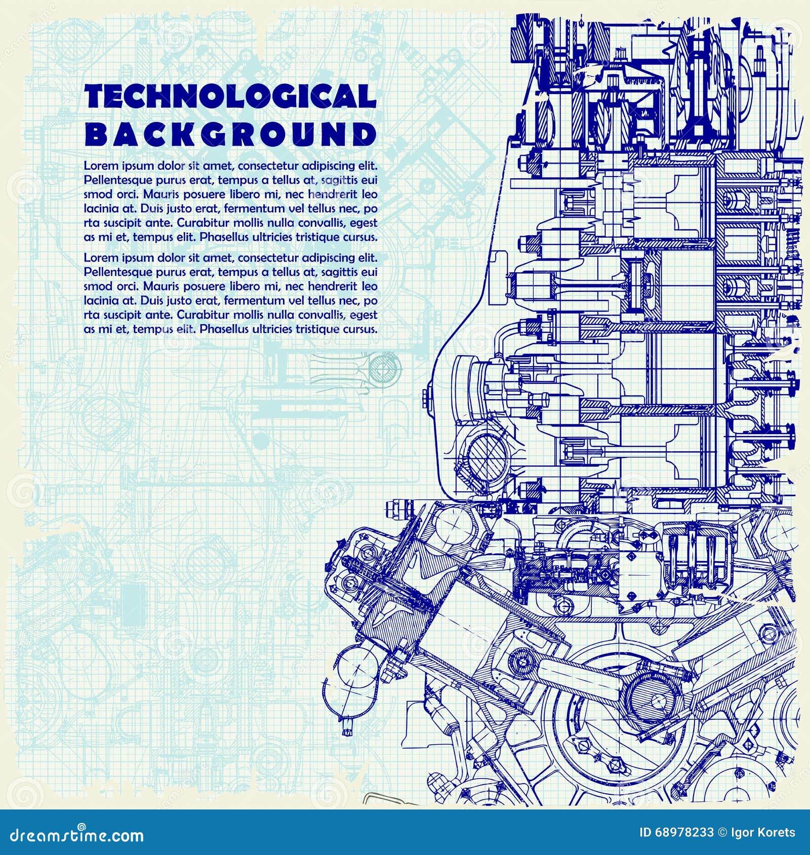 Formación técnica retra, motor de dibujo y espacio para su texto la textura del papel cuadriculado se puede apagar