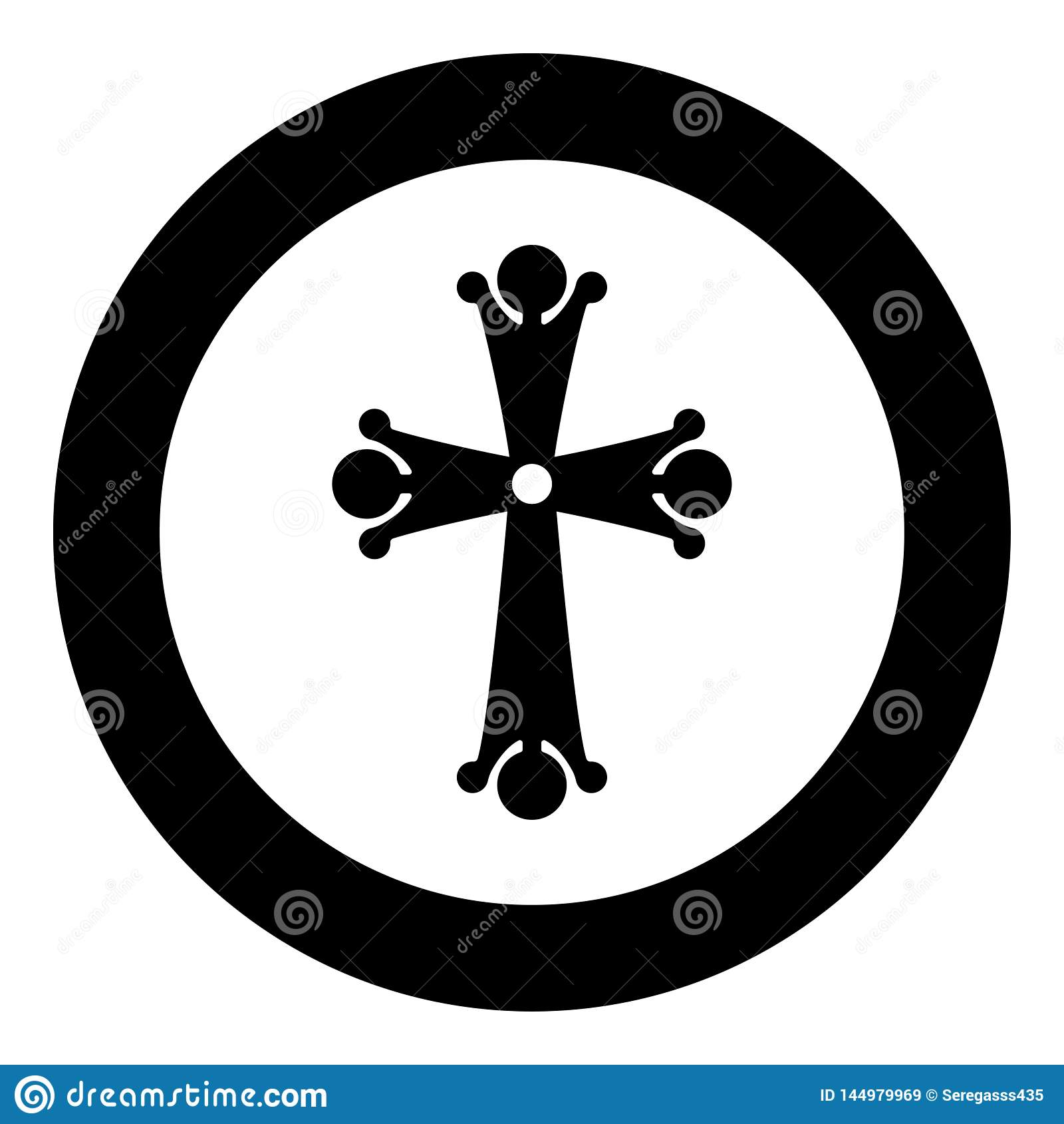 Formade spetsig arg droppe fyra den religiösa korssymbolen för den arga monogrammet i stil för svart för färg för cirkelrun