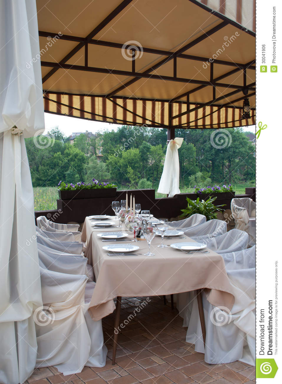 Breakfast bar with table setup stock photo cartoondealer