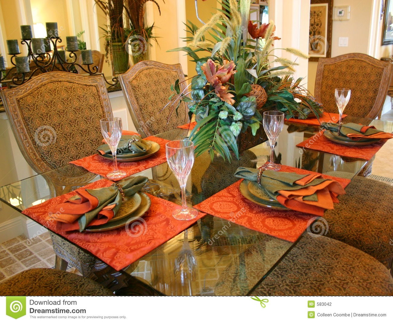 Formal Dining Room Stock Photo Image Of Table Orange