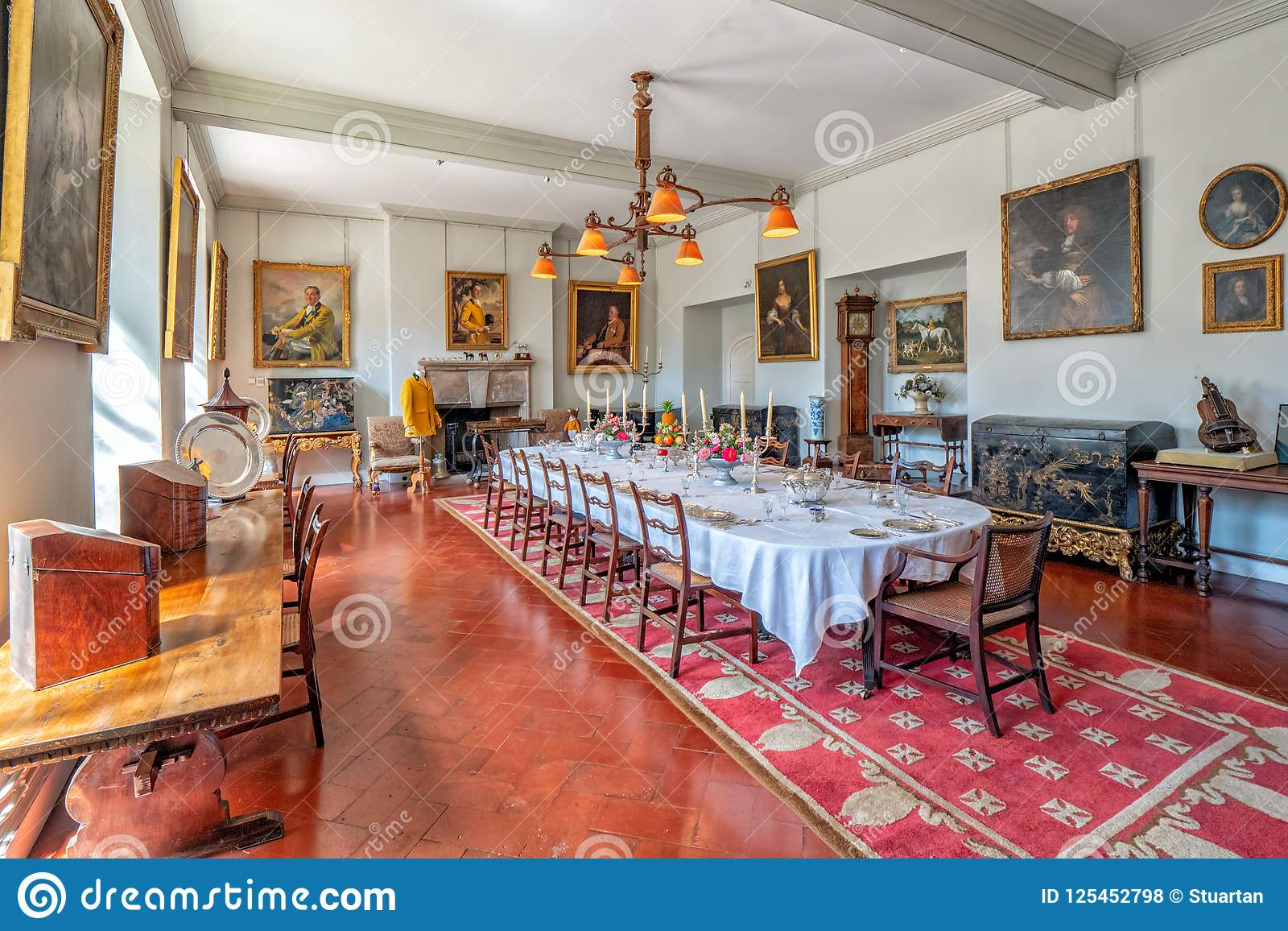 The Formal Dining Room In The Famous Historic Mediaeval Berkeley Castle In  Gloucestershire, England. This Was Previously The Billiard Room And The  Place ...