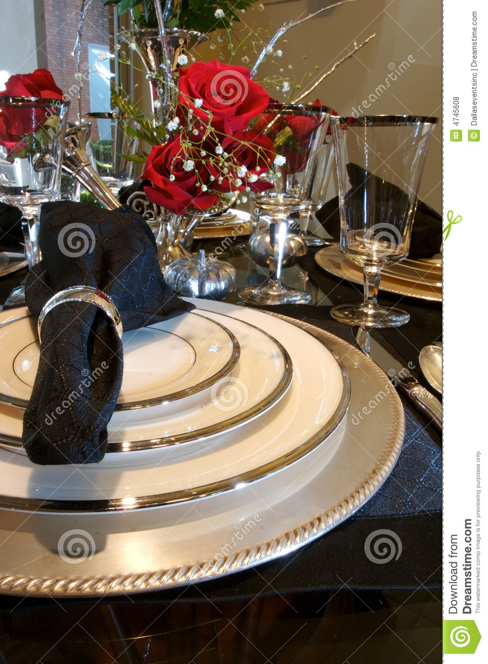 Formal Dining Room Place Setting Stock Photo Image 4745608