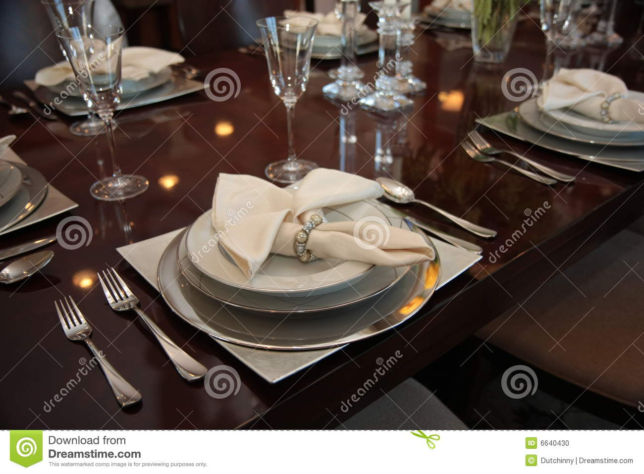 Formal dinner place settings & Formal Dinner Place Settings Stock Photo - Image of lavish ...