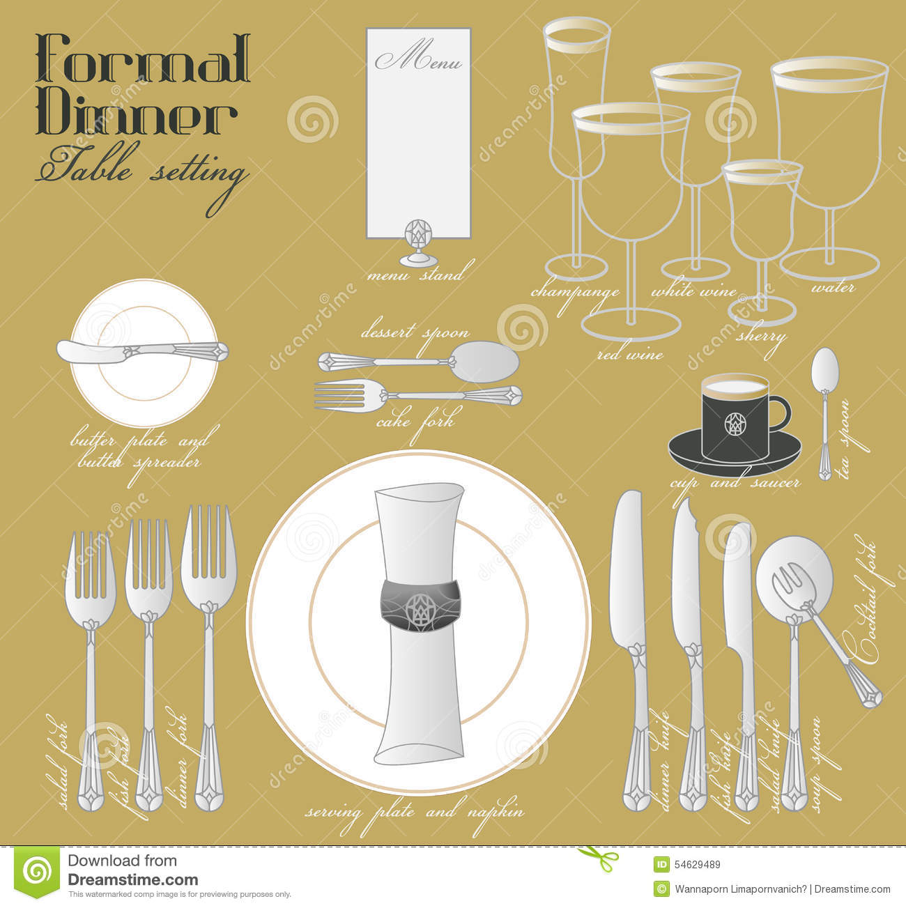 FORMAL DINNER TABLE SETTING Stock Photo Image 54629489 : formal dinner table setting dining elegant decoration glamour style arrange full course n 54629489 from www.dreamstime.com size 1300 x 1303 jpeg 171kB