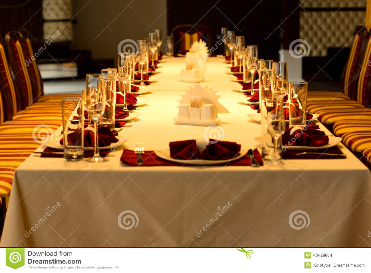 Formal Dinner Table Settings For A Special Event Stock
