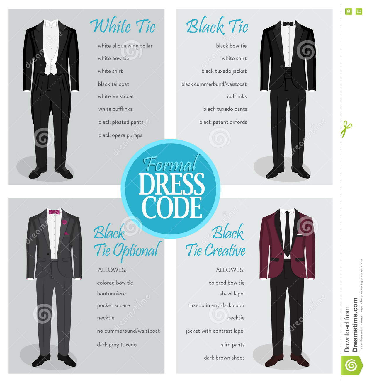 2dee5c763 Formal Dress Code Guide For Men Stock Vector - Illustration of opera ...