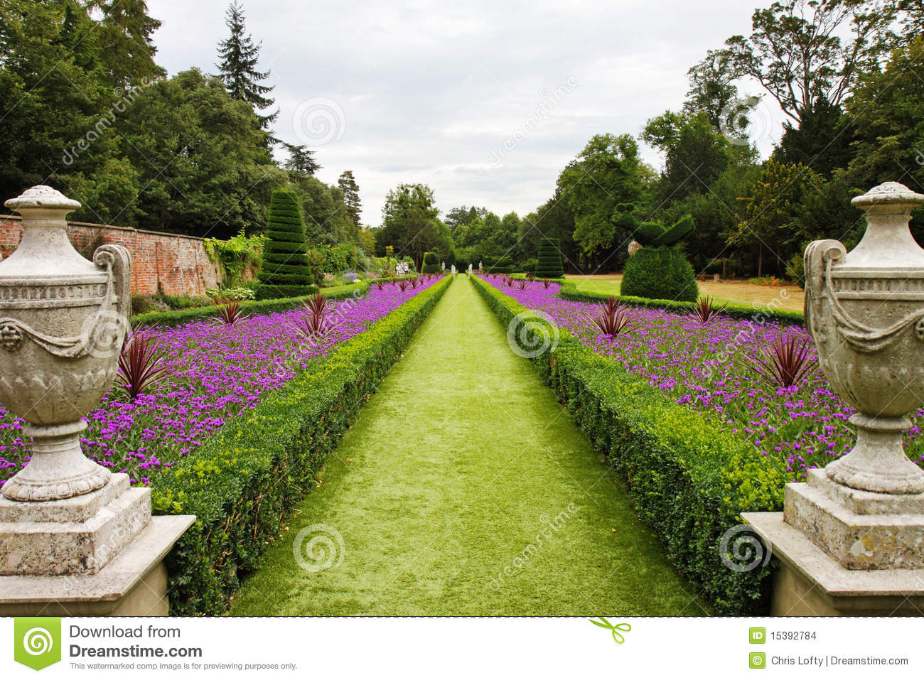 a formal english landscaped garden stock photo