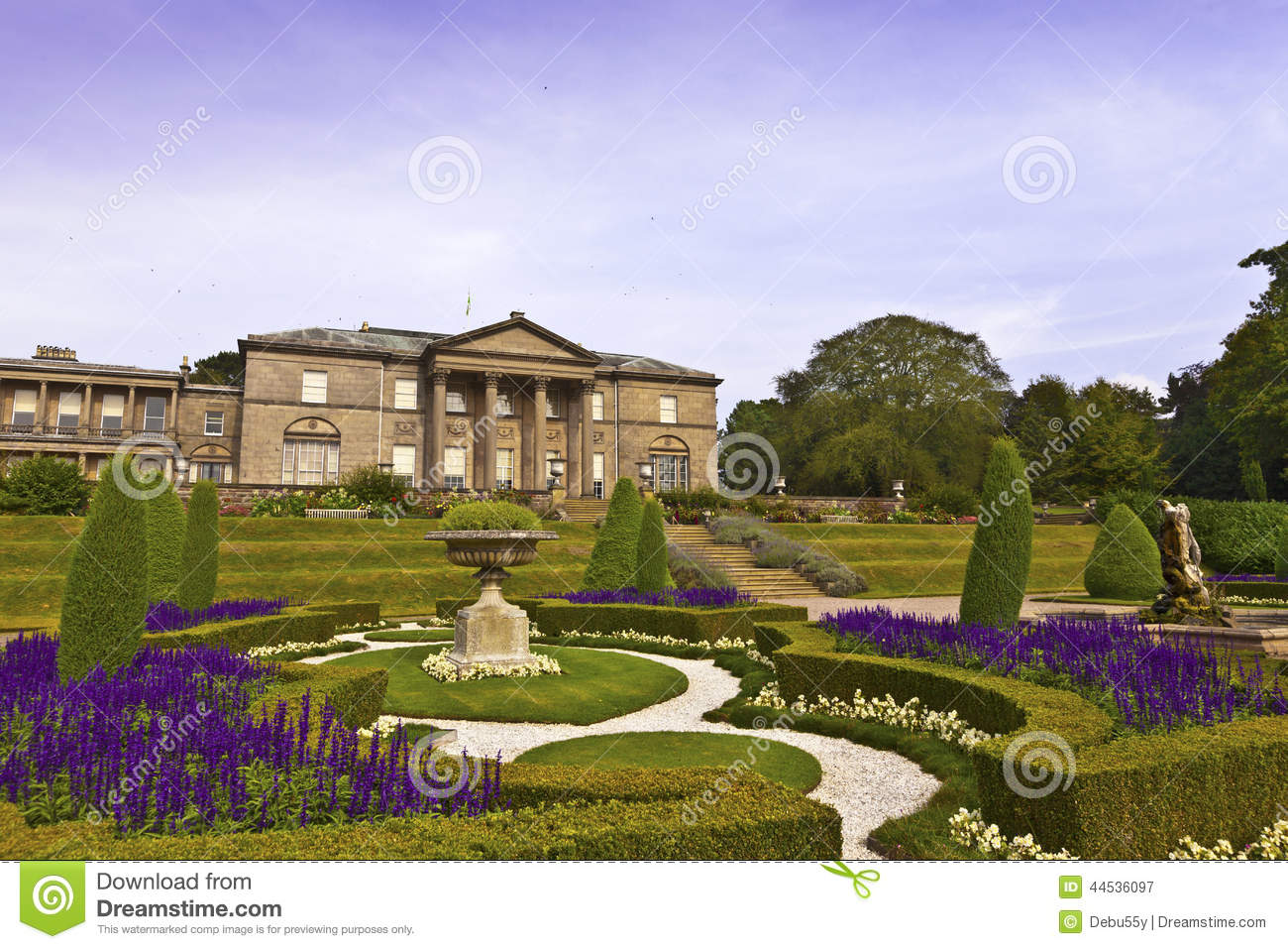 Formal garden and a mansion house stock photo image for Tuxedo house
