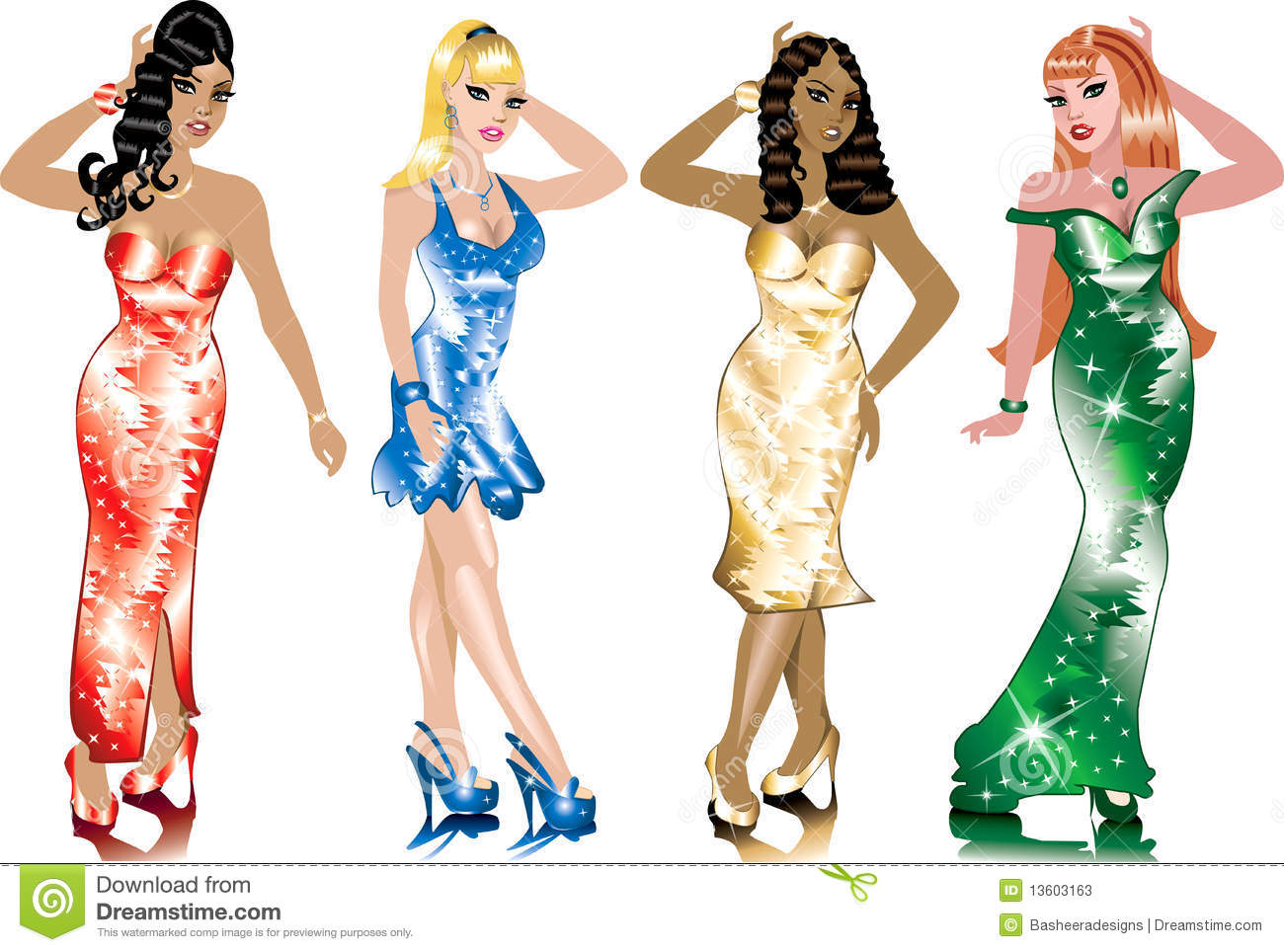 Christmas Beauty Pageant Outfits.Formal Gown Women Stock Vector Illustration Of Curvy 13603163