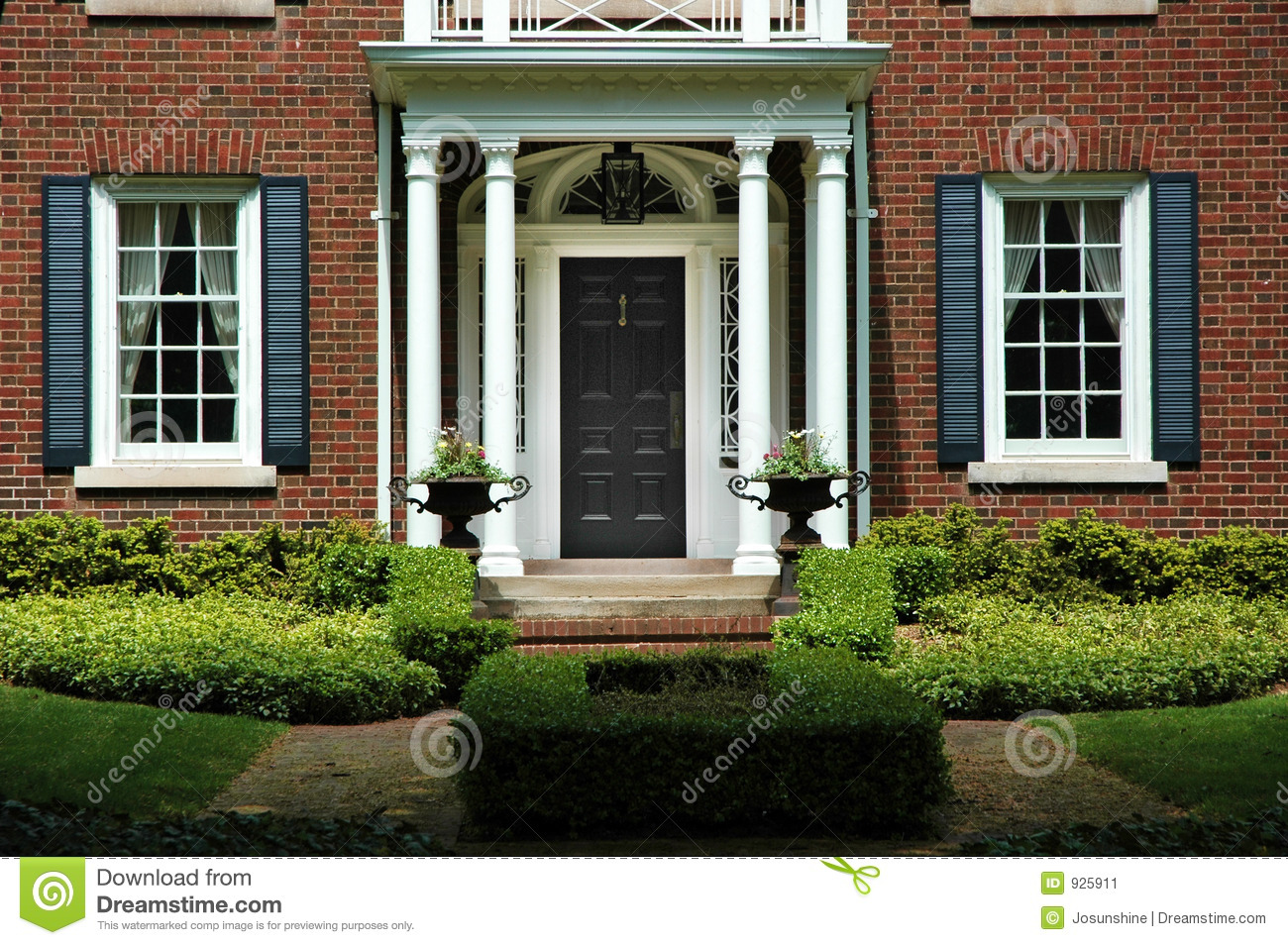 Formal Home Entrance stock image. Image of brick, house