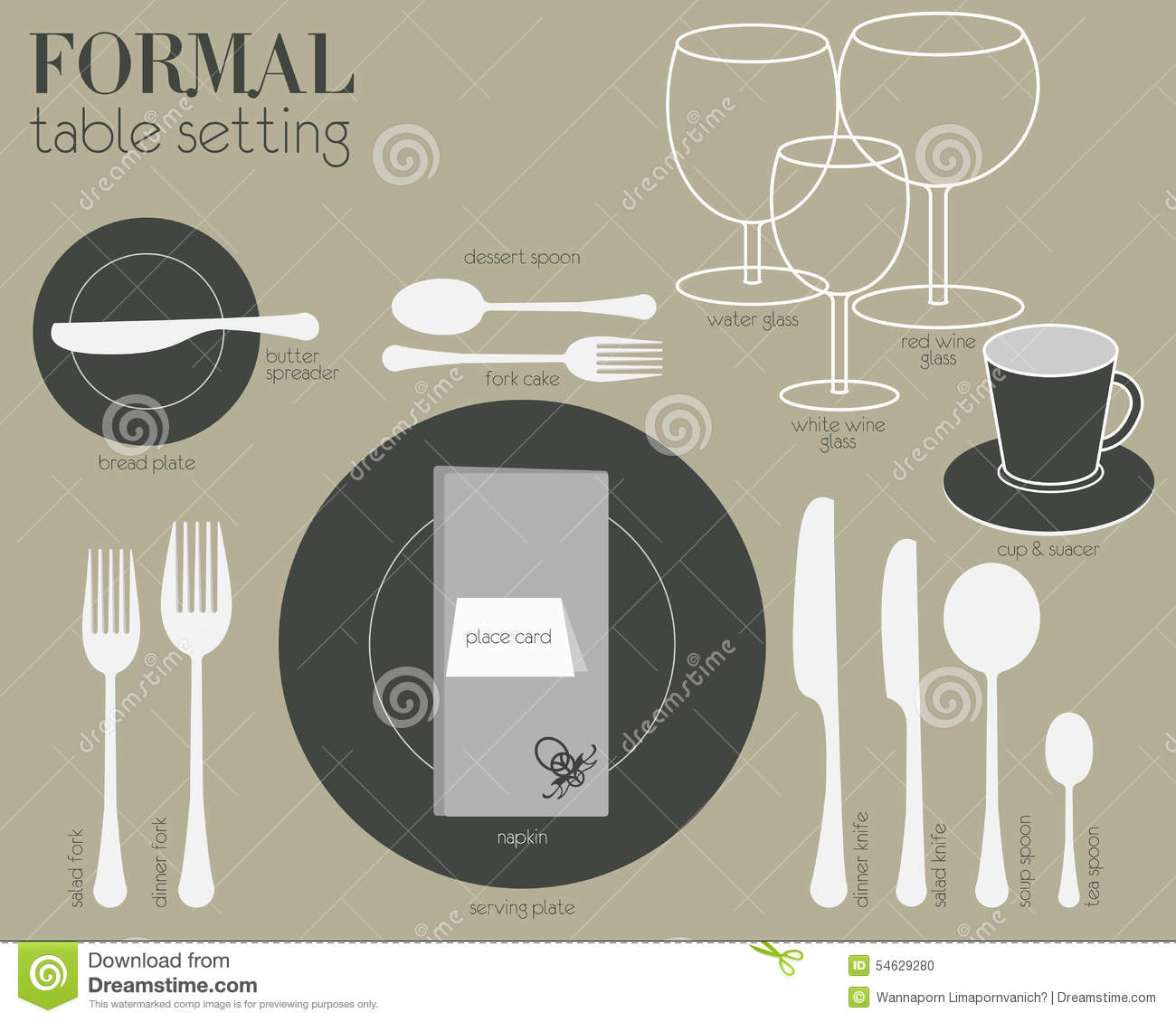 FORMAL TABLE SETTING Stock Vector. Illustration Of Setting