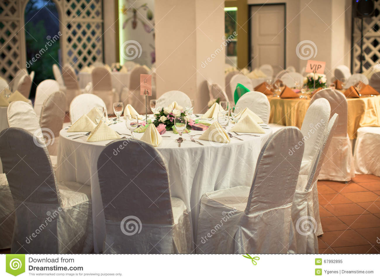 formal table setting with flower decoration stock photo - image