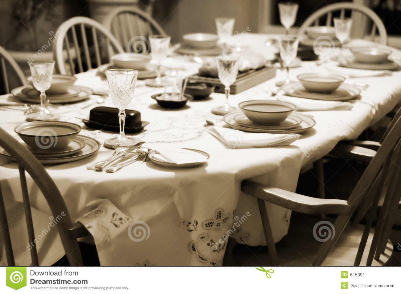 Formal Table Setting At Home Stock Image Image Of Cloth