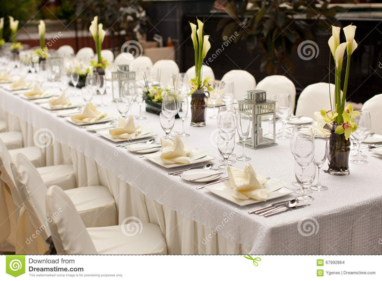 Formal table setting with flower decoration royalty free for Table utensils