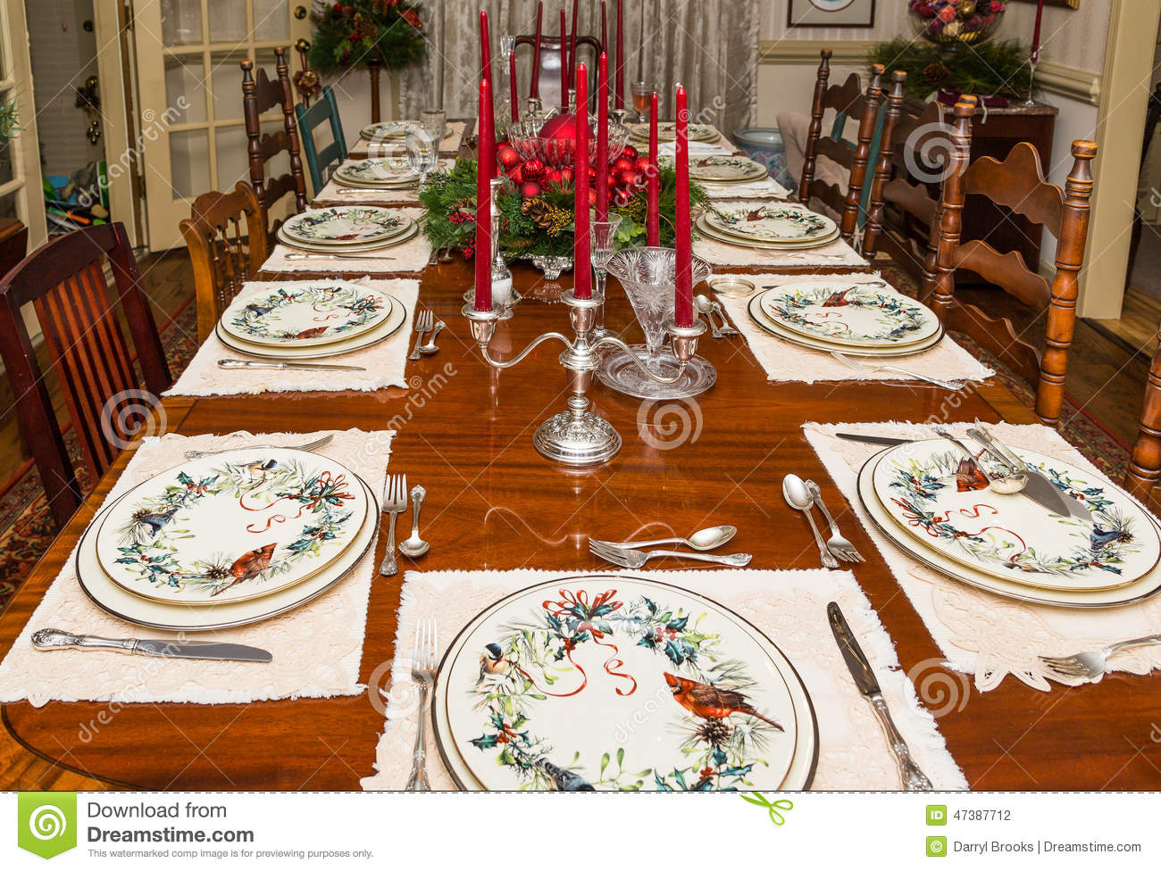 Formally Set Dining Table At Christmas Stock Photo - Image: 47387712