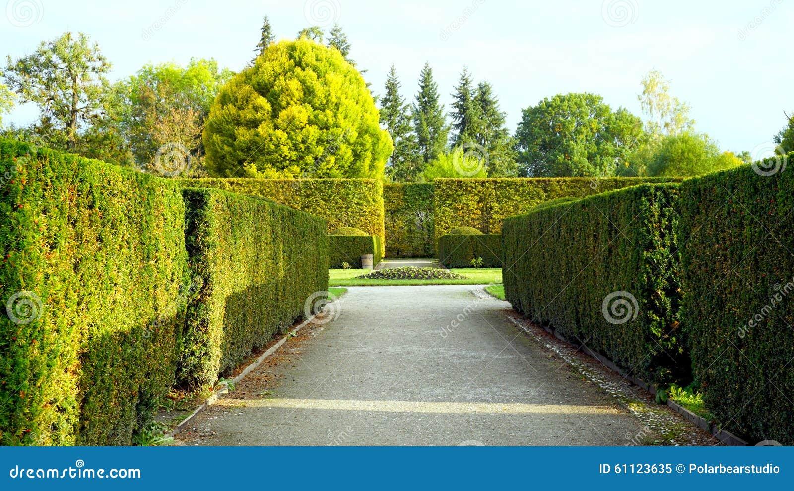 Formalny ogród w parku kasztel