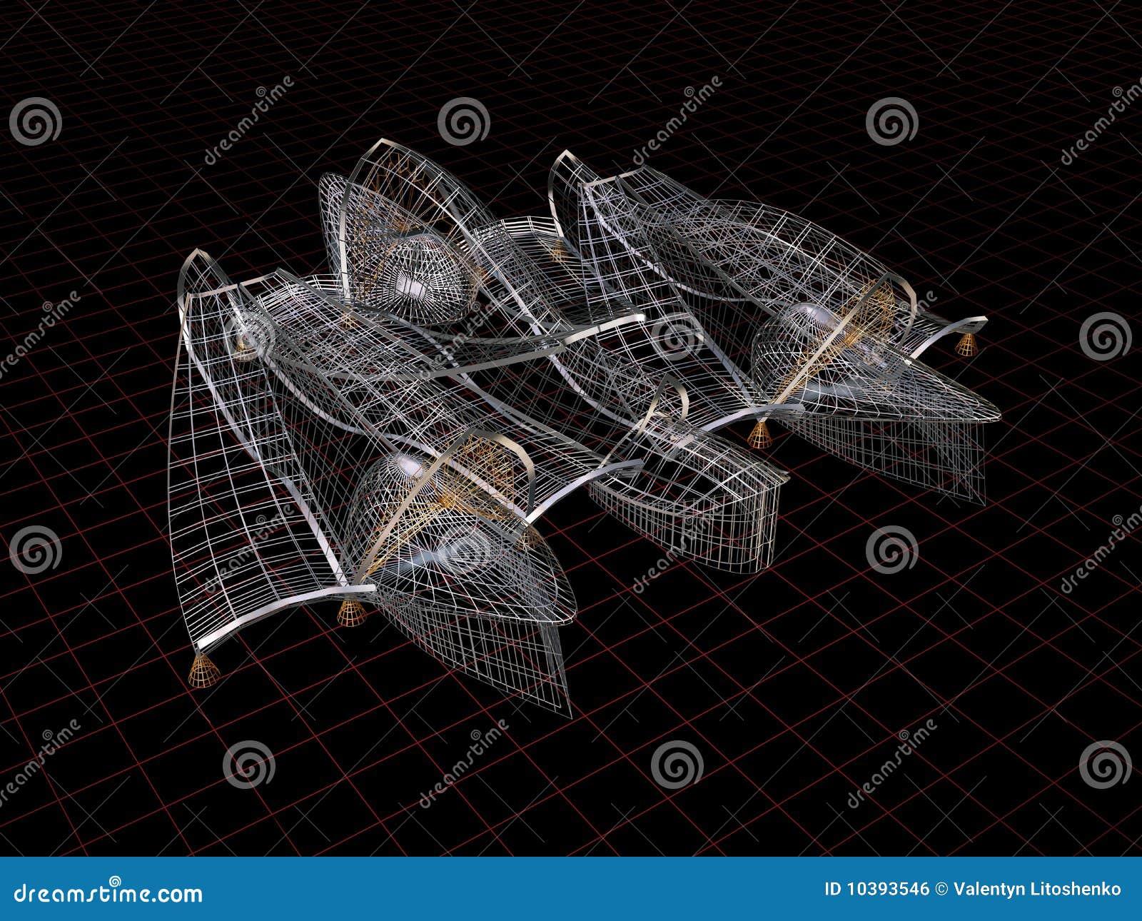 Formas arquitect nicas modelo del alambre 3d stock de for Imagenes abstractas 3d