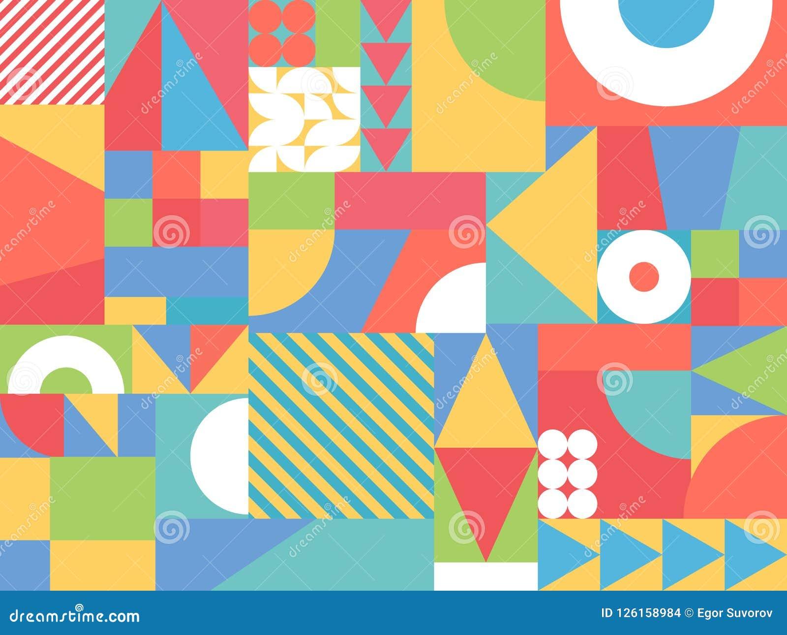 Formas coloridas al azar abstractas Fondo geométrico del color Elementos decorativos del diseño Contexto retro Ilustración del ve
