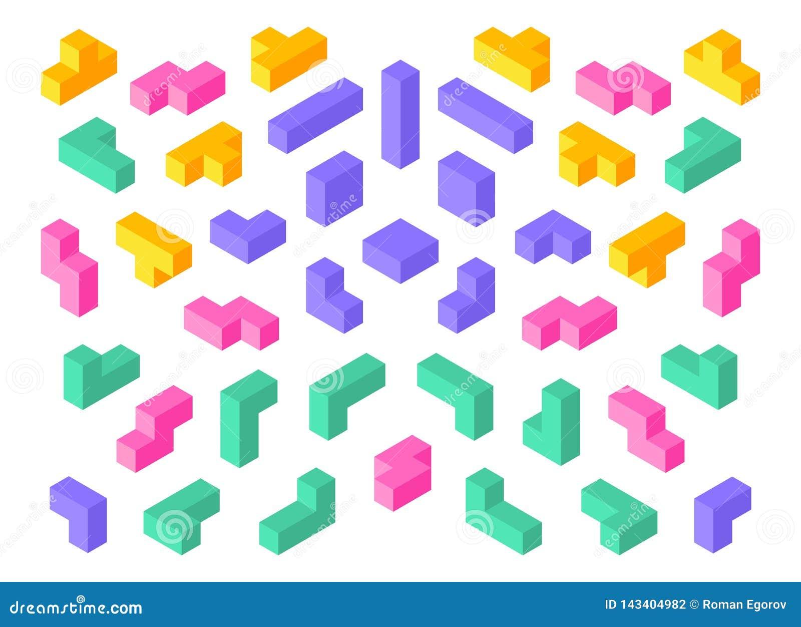 Formas de Tetris Bloques coloridos del extracto del cubo del rompecabezas 3D de los elementos isométricos del juego Los tetris is