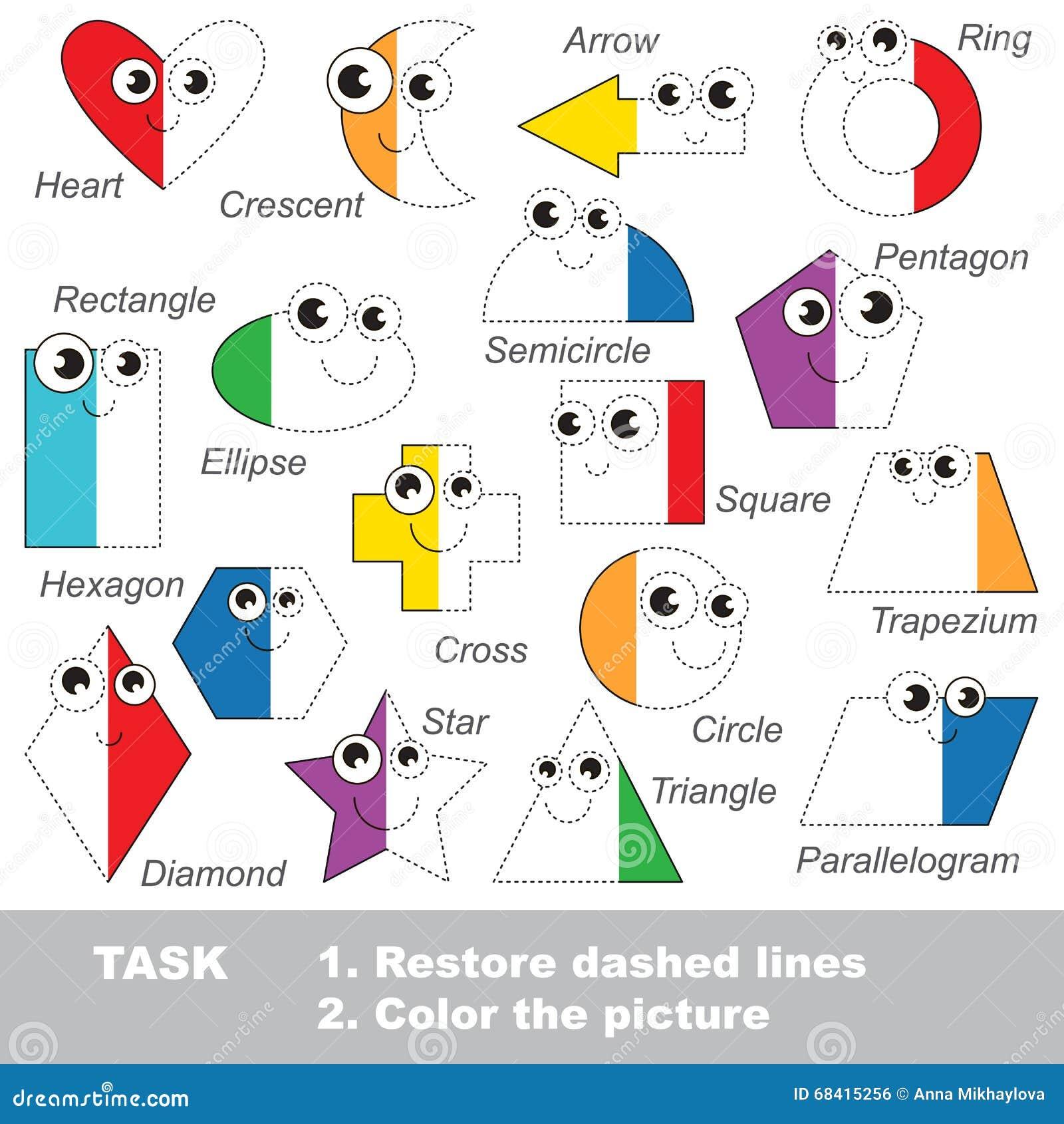 Formas Geométricas Fijadas Para Ser Coloreado Juego Del Rastro Del