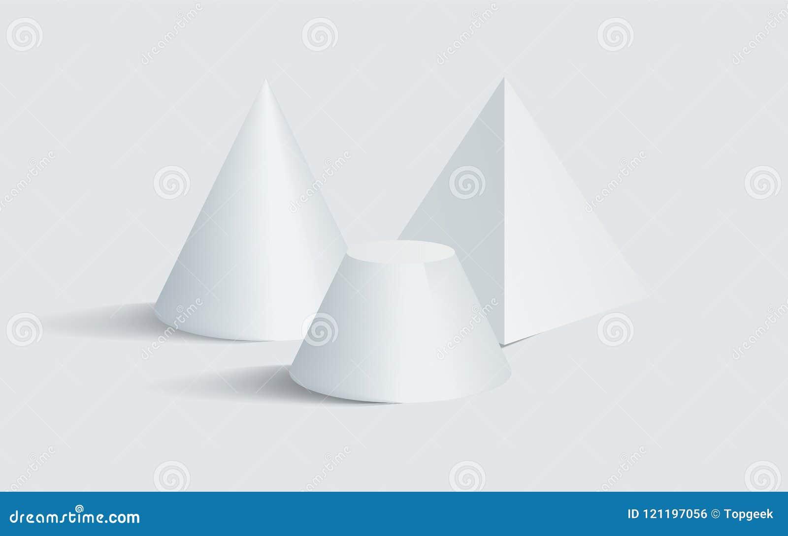 Formas geométricas pentagonales embotadas de la prisma 3D del cono