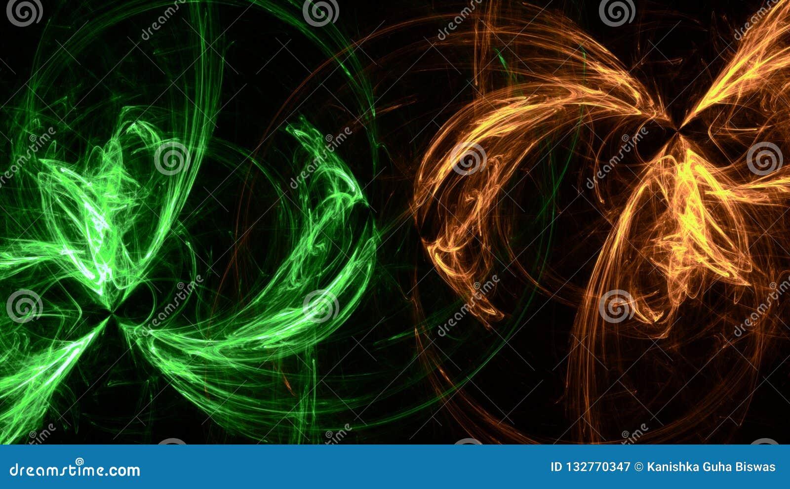 Formas ligeras geométricas del fondo de neón verde
