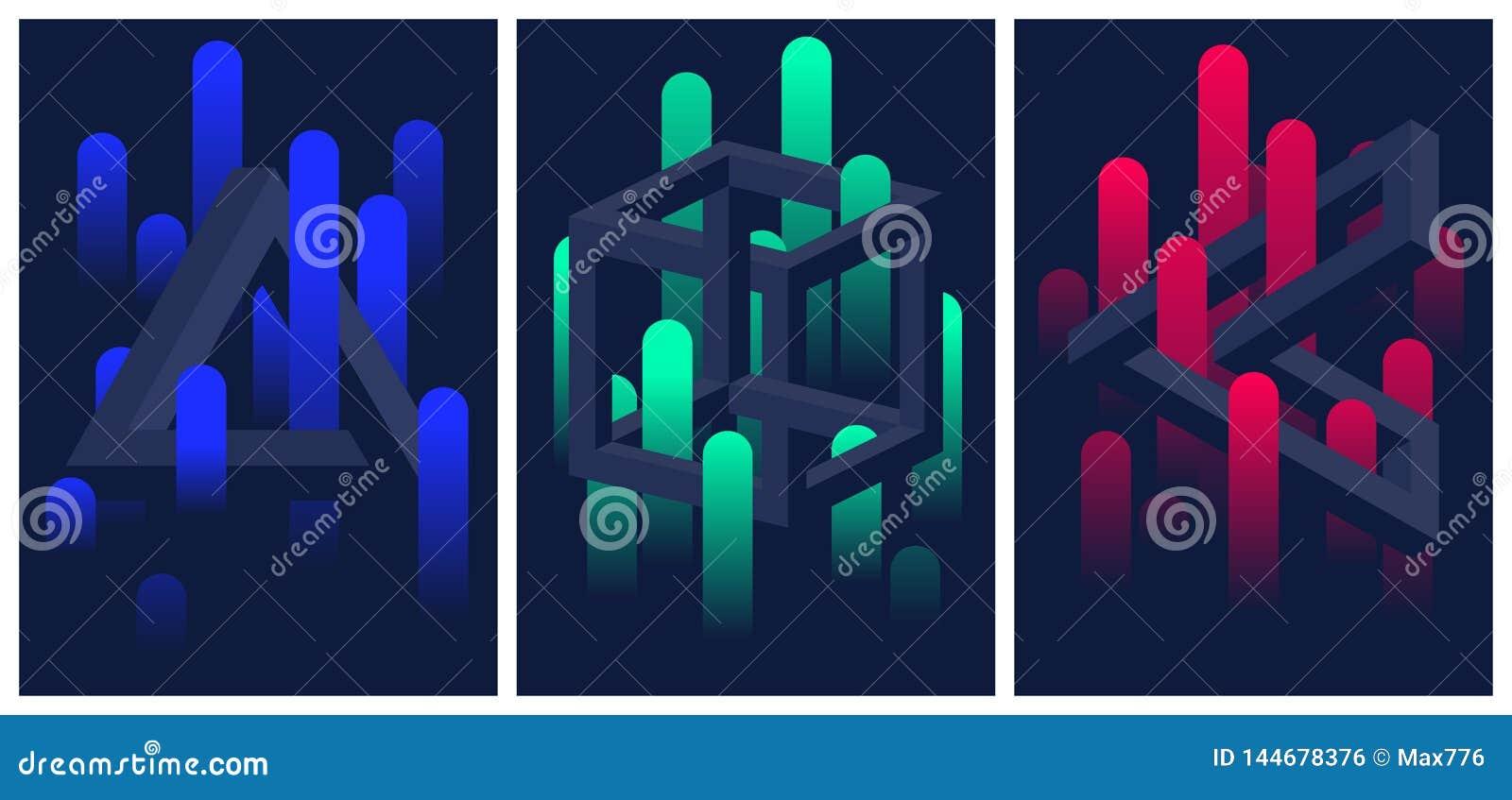 Formas y líneas geométricas imposibles de la pendiente del color, sistema de aviadores y folletos, fondo del extracto del vecto