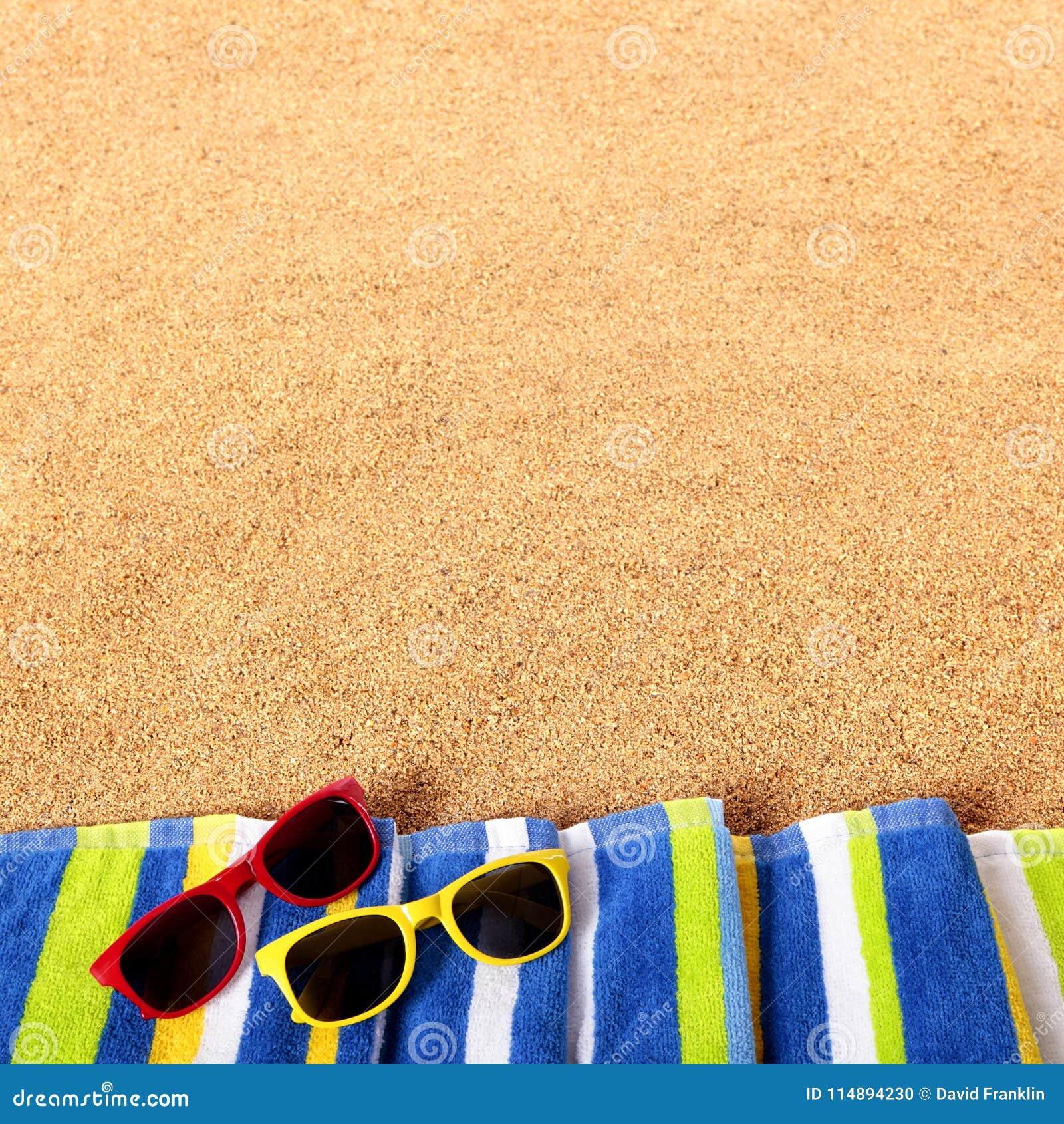 Format för fyrkant för bakgrund för solglasögon för sommarstrandgräns