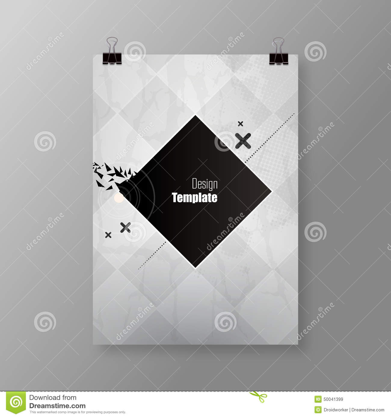 Poster design monochrome - A4 A3 Format Poster Minimal Abstract Background With Your Text Paper Clips And Shadow