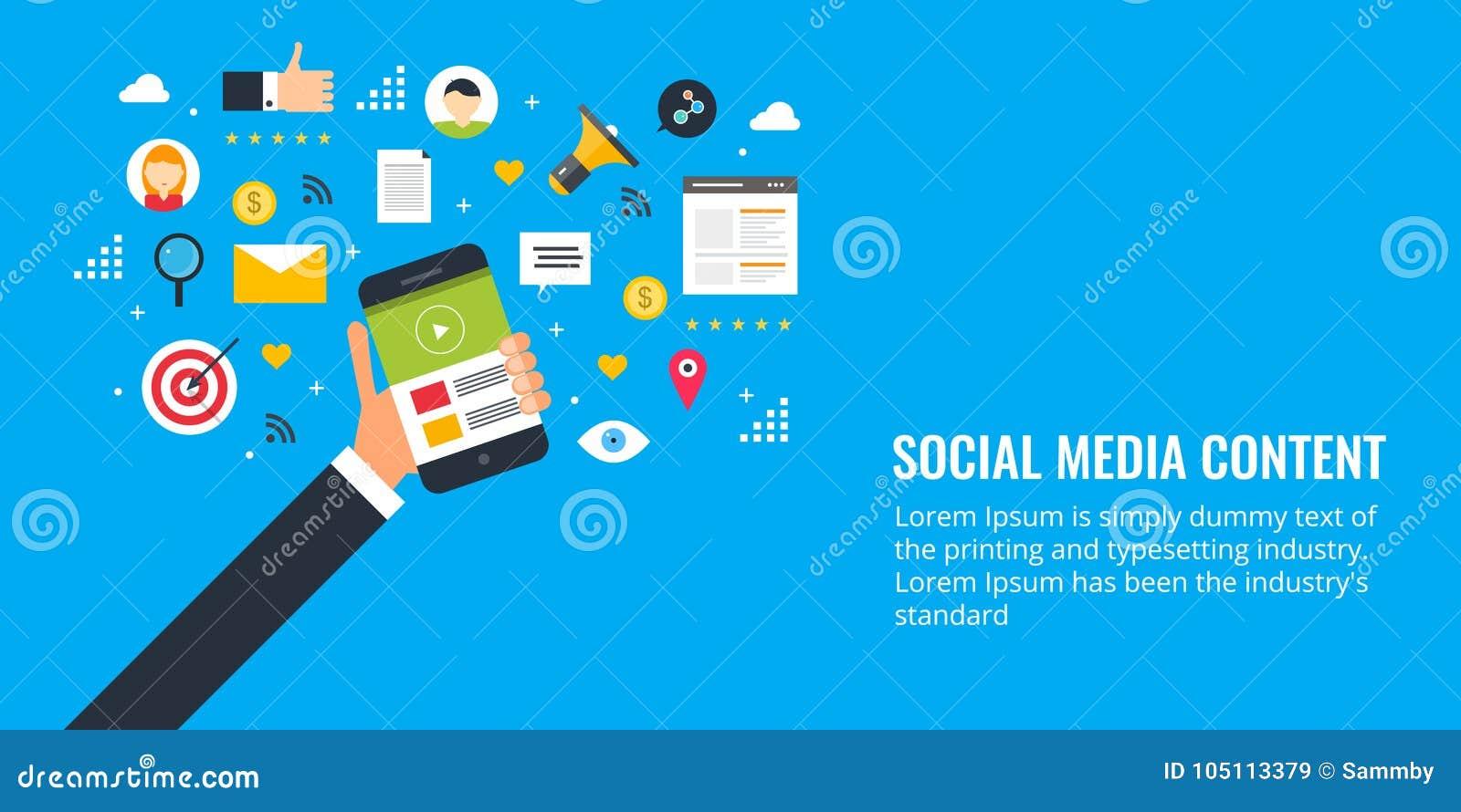 Formati contenti per l impegno sociale di media, testo, video, immagine, ricerca, email Insegna piana di vendita di progettazione