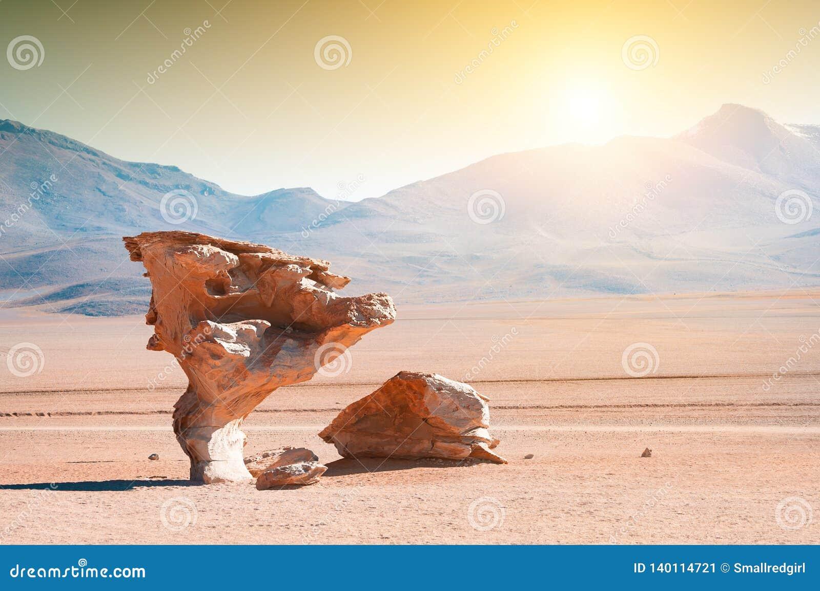 """Formations de roche """"d arbre en pierre """"Arbol de Piedra sur Altiplano, Bolivie"""