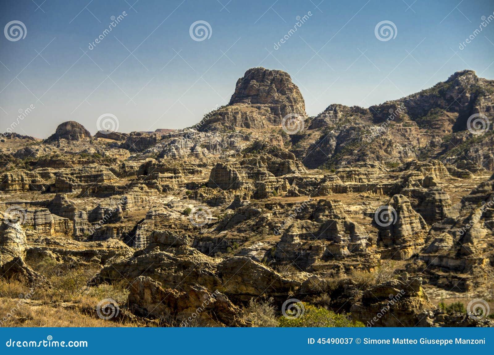 Formations de roche en parc Isalo, Madagascar