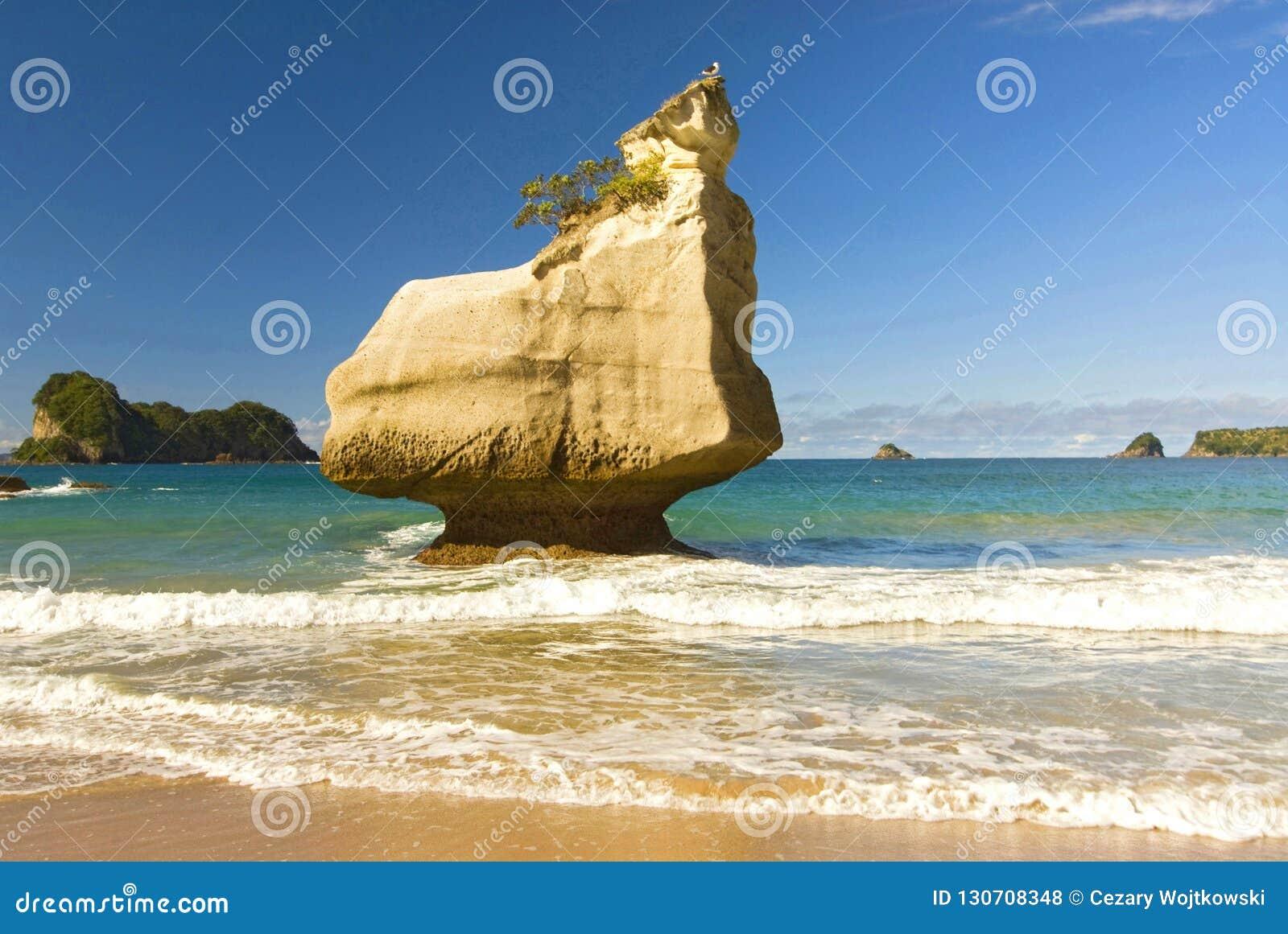 Formations de roche et plage sablonneuse fine à la crique de cathédrale sur la péninsule de Coromandel au Nouvelle-Zélande, île d