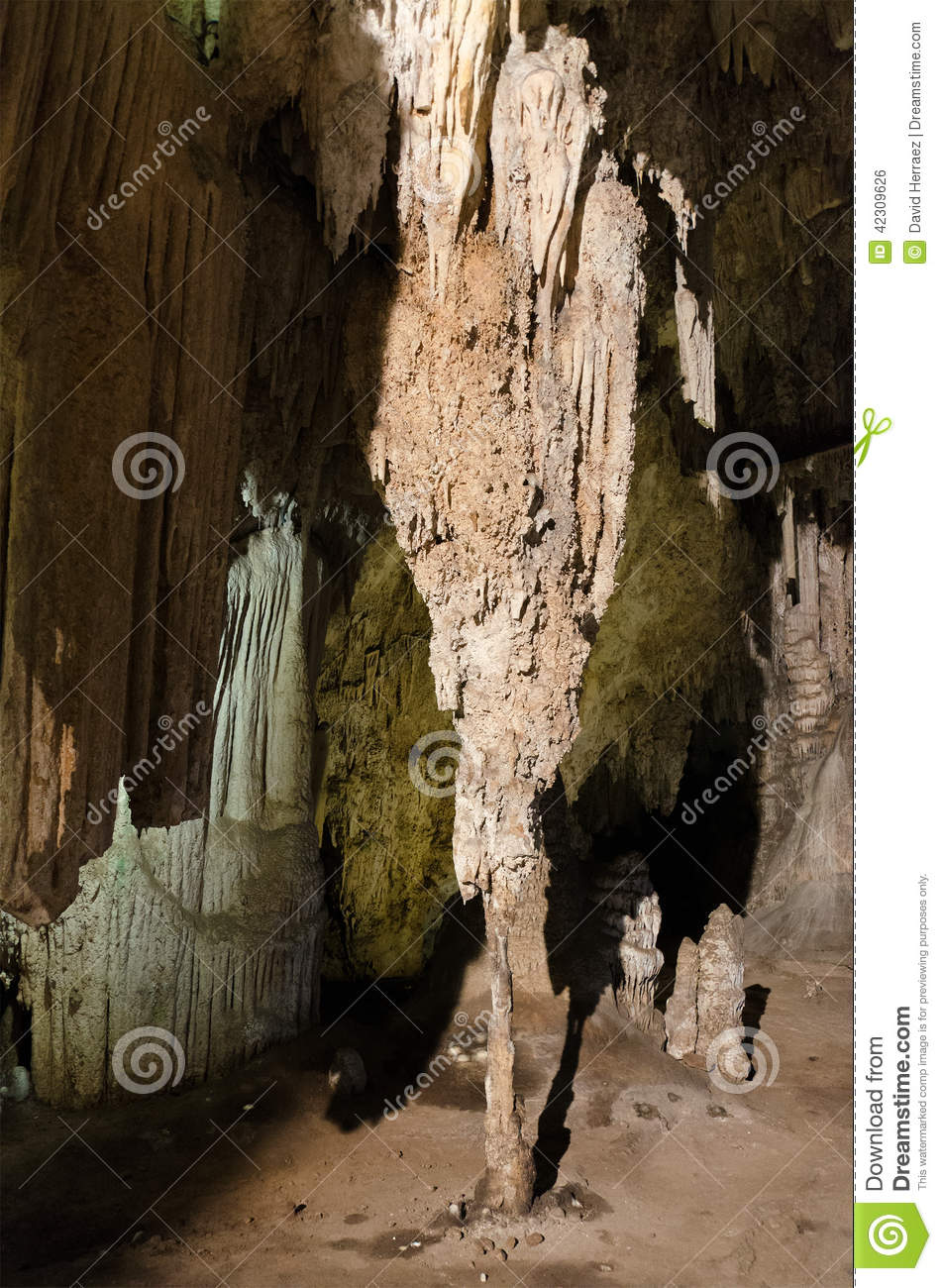 Formations; Stalactites and stalagmites in the famous Nerja Caves