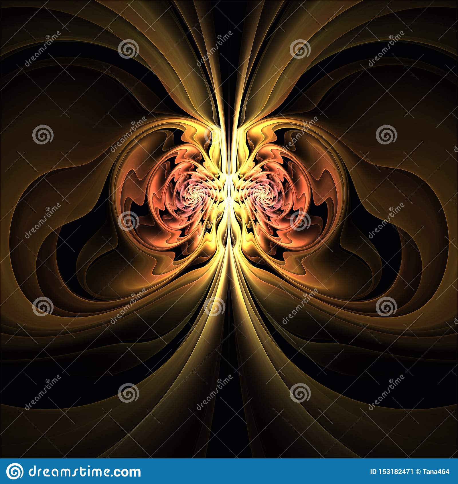 Forme brune jaune mystérieuse symétrique d art abstrait de fractale