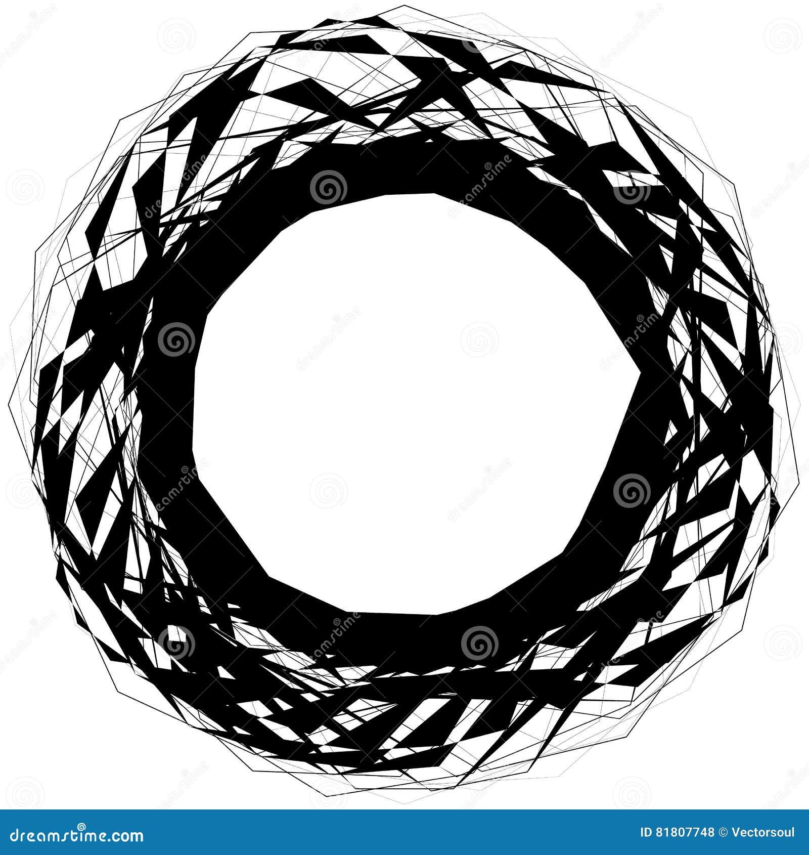 Forme circulaire énervée abstraite, élément d isolement sur le blanc random