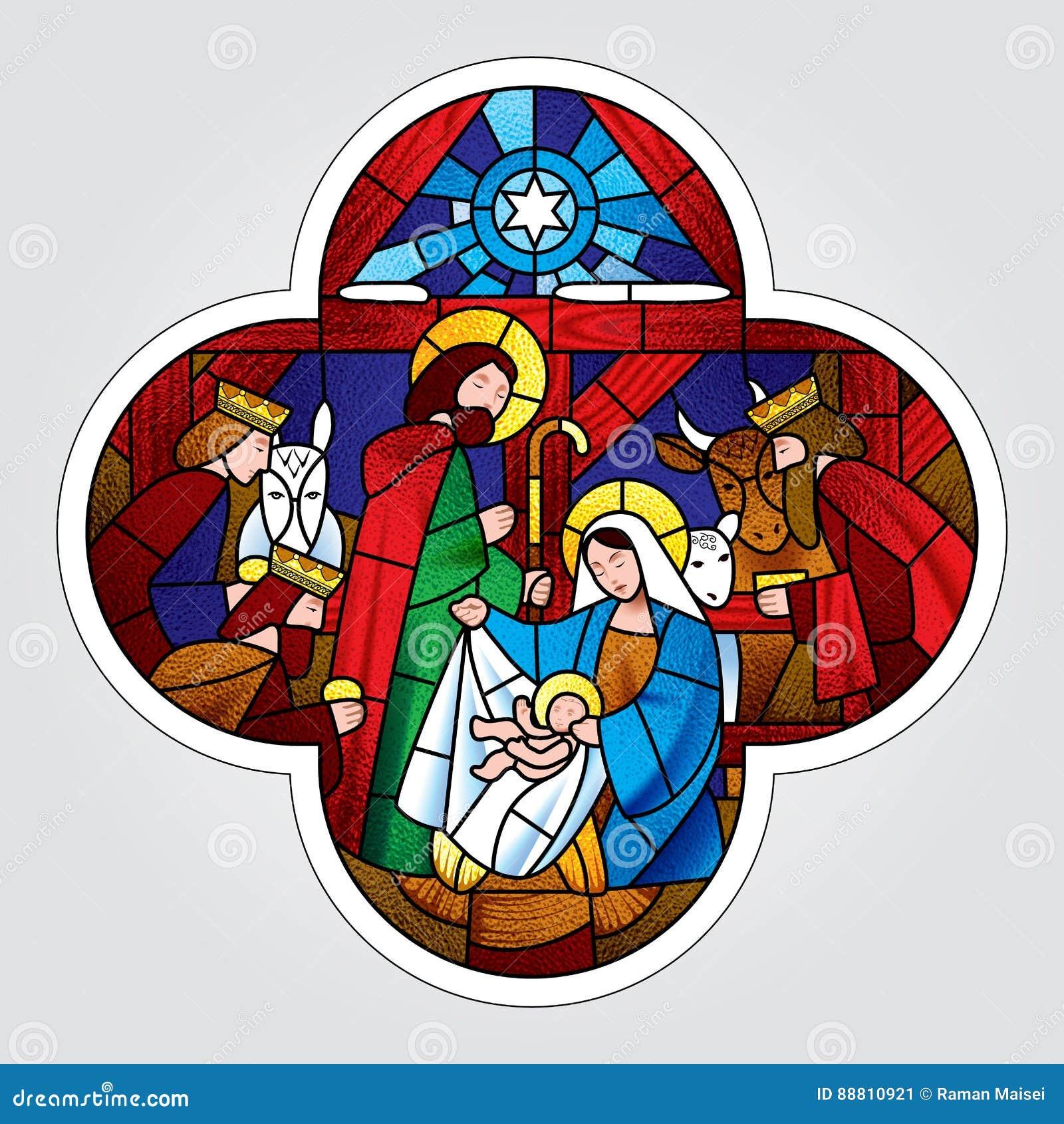 Forme croisée avec Noël et l adoration de la scène de Rois mages