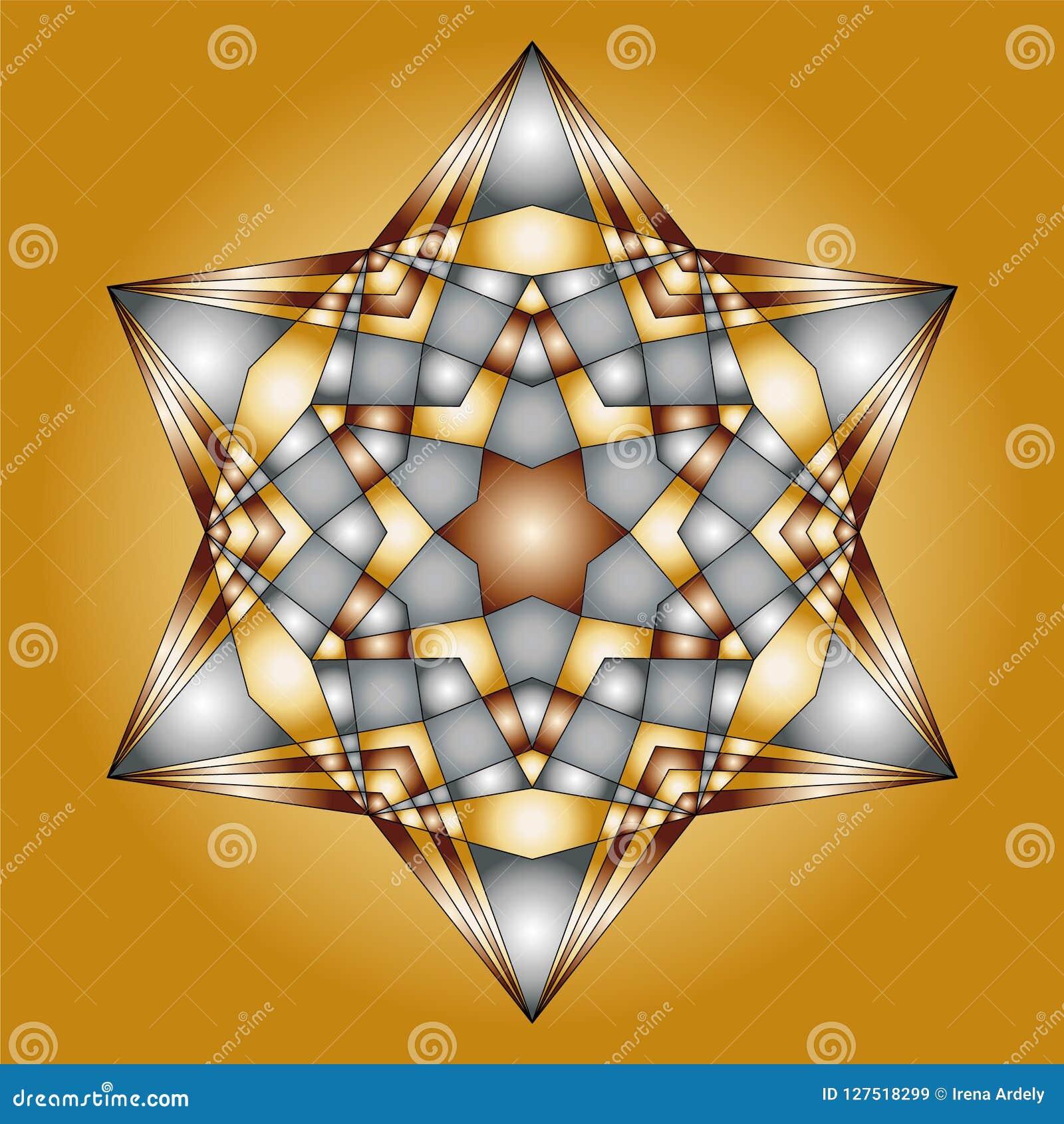 Forme d étoile de hexagram colorée par argent d or de mandala de Noël de vecteur - page adulte de livre de coloriage
