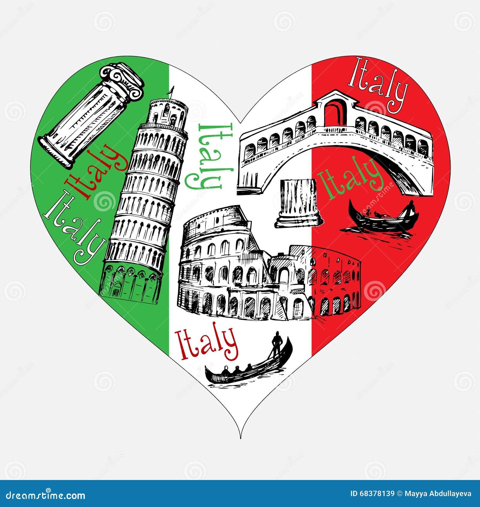 Célèbre Forme De Coeur Avec Des Symboles De L'Italie Illustration de  ZJ85