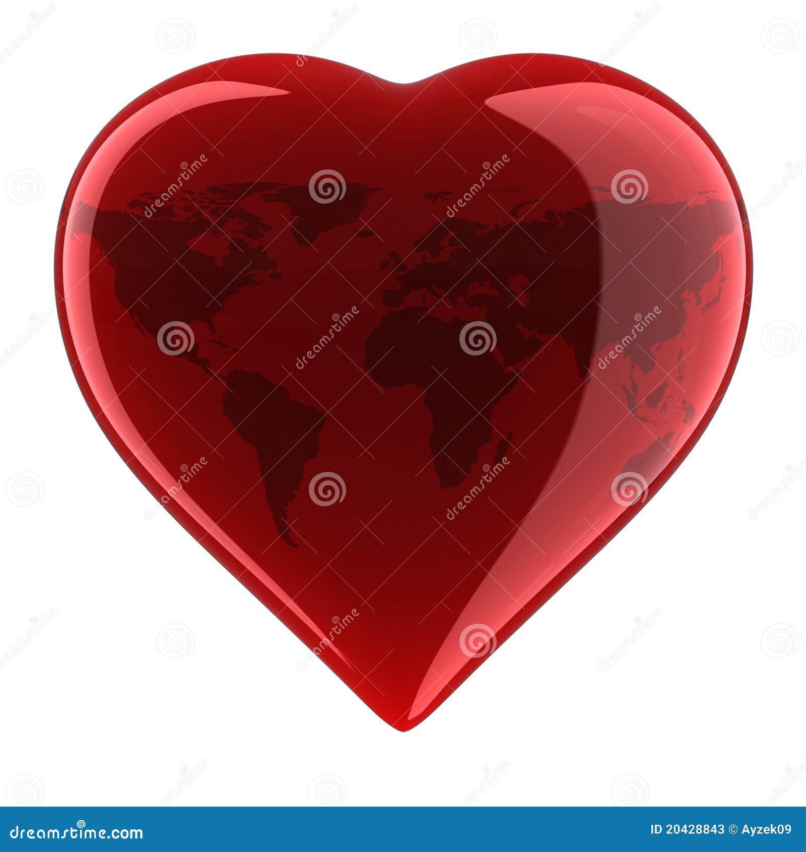 forme de coeur avec la carte du monde illustration stock image 20428843. Black Bedroom Furniture Sets. Home Design Ideas