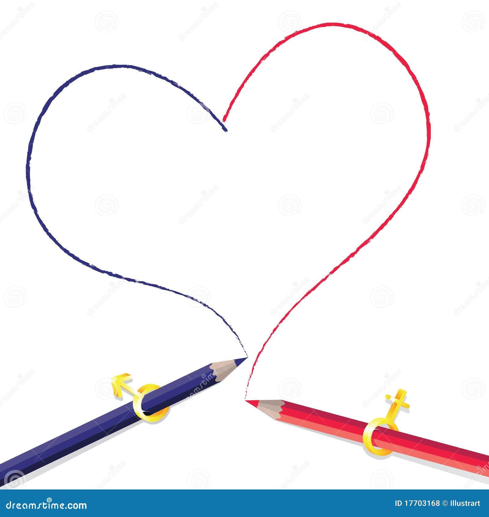 Forme de coeur de dessin au crayon photos libres de droits image 17703168 - Dessin en forme de coeur ...