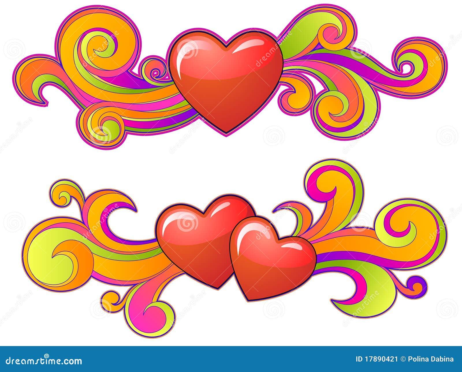 Forme de coeurs avec des remous