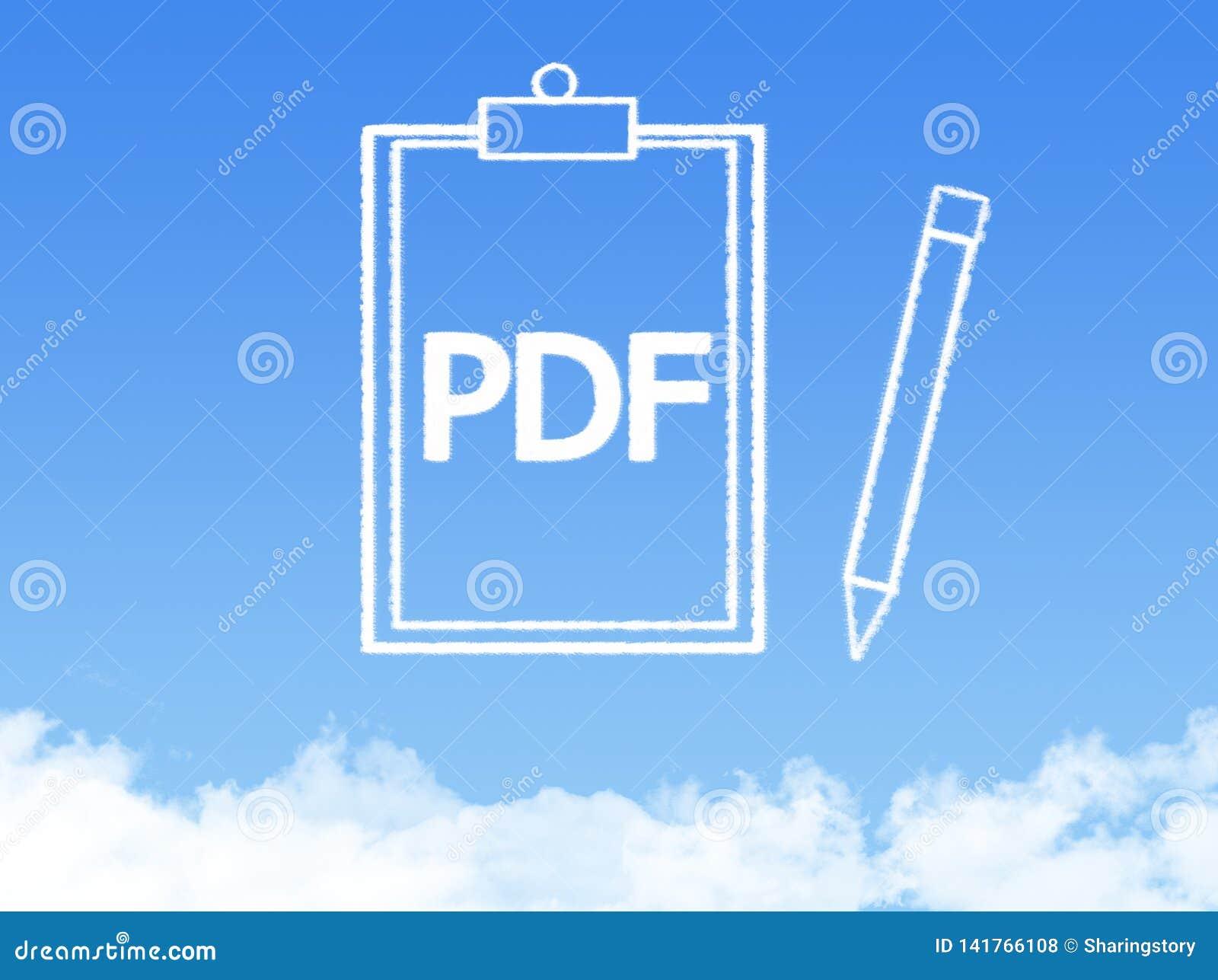 Forme de nuage de document sur papier de bloc-notes