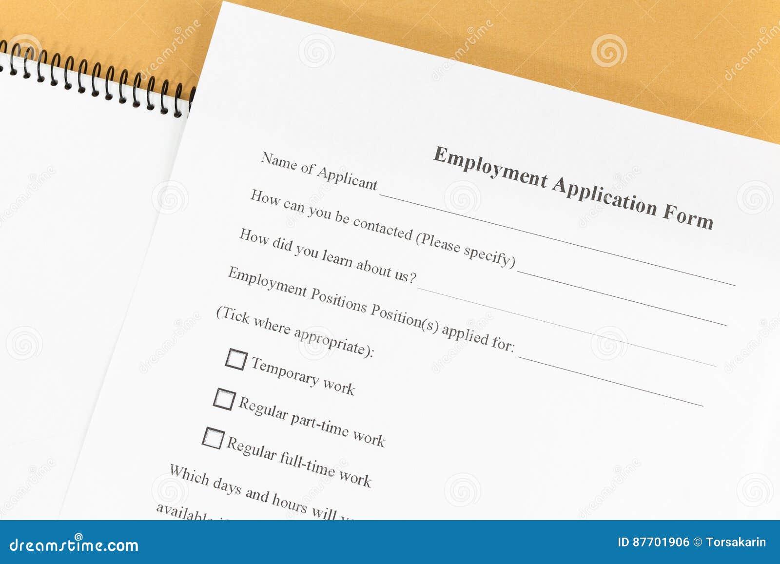 Forme de papier d application d emploi