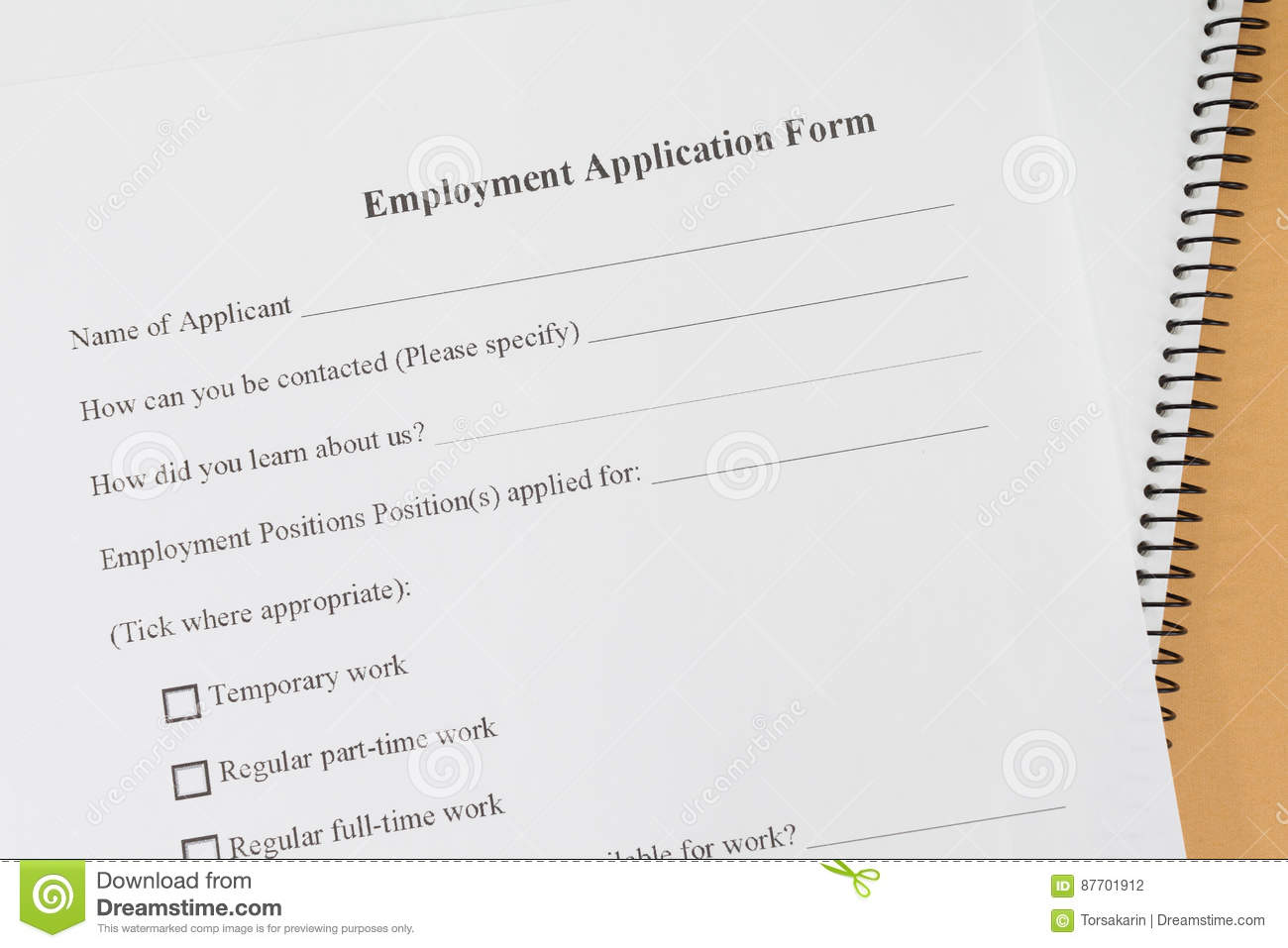 Forme de papier d application d emploi