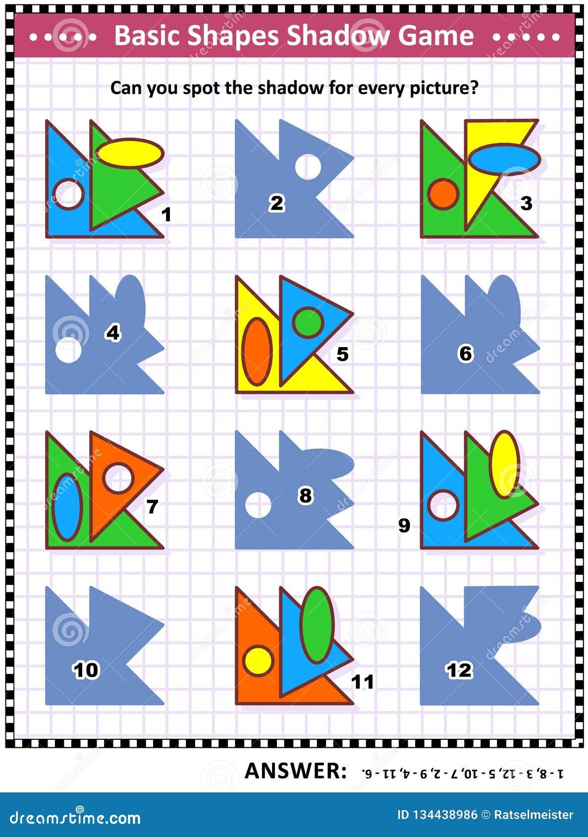 Forme Di Base Che Imparano E Puzzle Visivo Di Per La ...
