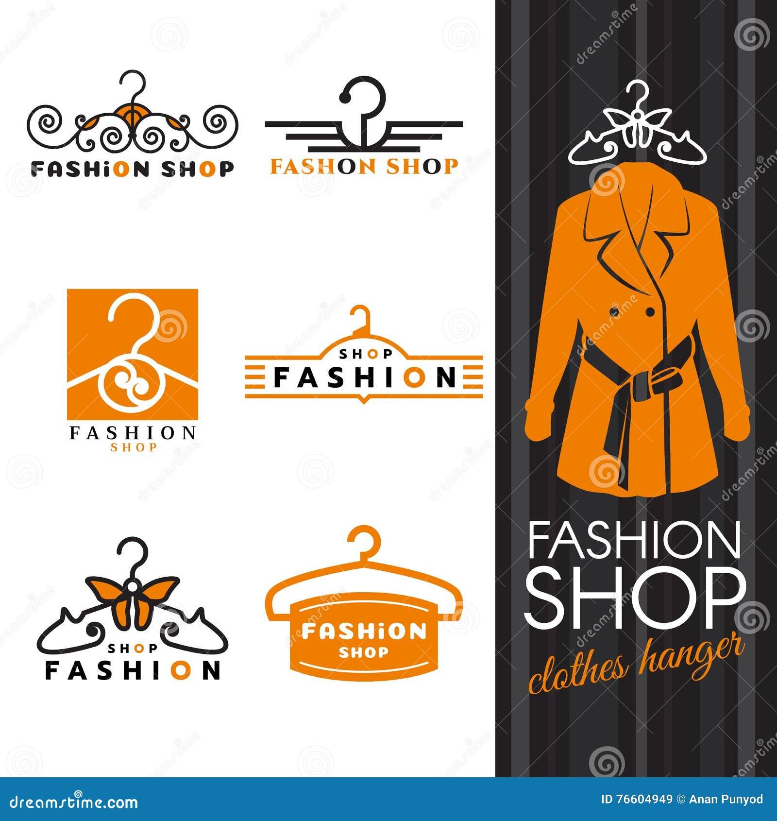Forme el logotipo de la tienda - vector del logotipo las camisas y de la suspensión de ropa anaranjadas diseño determinado
