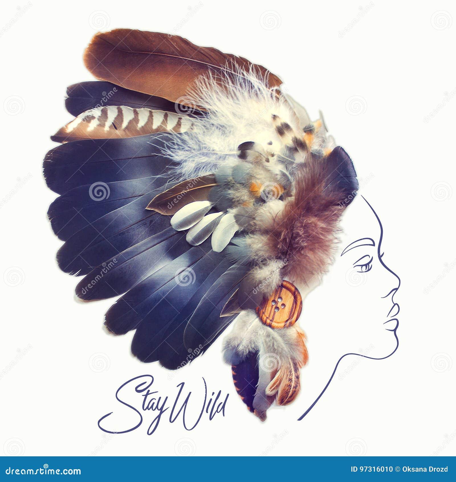 Forme El Retrato De La Mujer Hermosa Con El Tocado Indio De La Pluma ...